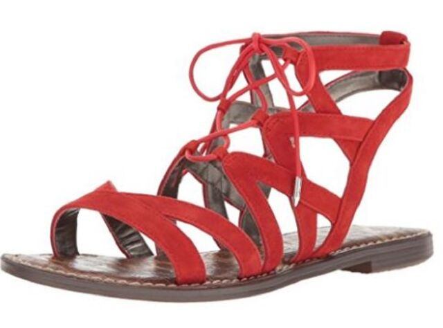ee0249a0 Women's Shoes Sam Edelman GEMMA Gladiator Sandals Suede Havana Red Blood  Orange