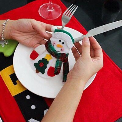 Cute Christmas Santa Holder Dinner Table Decor Cutlery Silverware Bag Pockets