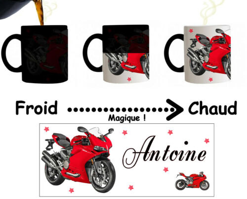 Mug tasse magique moto  personnalisé avec prénom