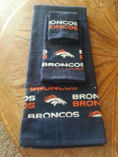 Denver Broncos 3 piece Bath towel Set Handmade    GREAT GIFT!!!