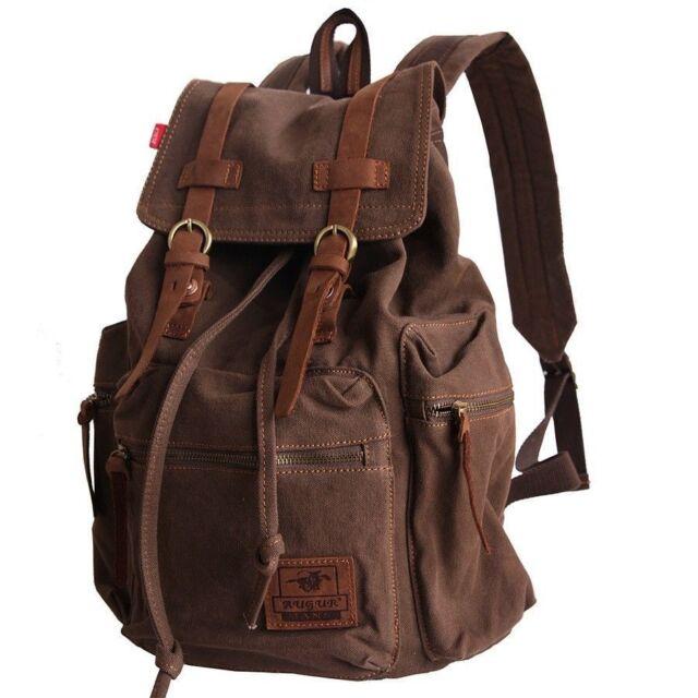 Vintage Men's Canvas Leather Hiking Travel Military Backpack Satchel School bag