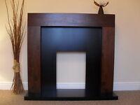 Electric Mango Walnut Brown Wood Surround Black Fire Fireplace Suite Set - 54