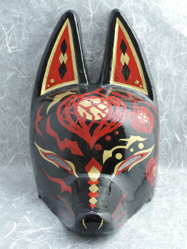 """New Japanese fox half mask motif /"""" Hozuki ground cherry /"""" Black Red  Hand made"""