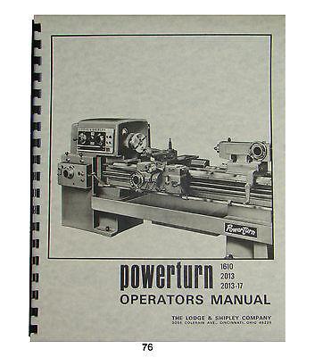 /& 2013-17 #75 Lodge /& Shipley Powerturn Lathe Repair Part Manual No 1610 2013