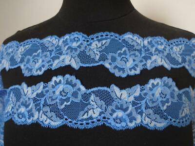 2 METER Spitze Weiß Blau elastisch 6,5cm breit Borte