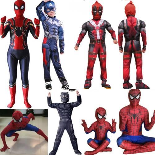 Kid Boys Superhero Spiderman Deadpool Cosplay Jumpsuit Costume Party Fancy Dress