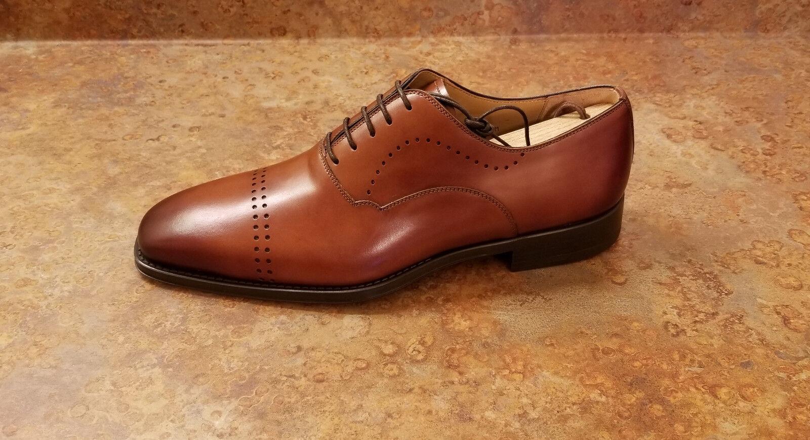 New  Magnanni 'Cedric' Oxford scarpe Cognac Marroneee Leather Mens 7.5 M MSRP  325