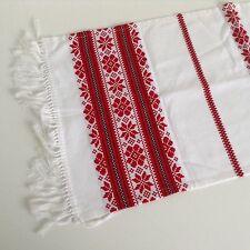 "Vintage Hungarian Woven Table Runner Tablecloth Folk Art 33""x14"" Red White Black"