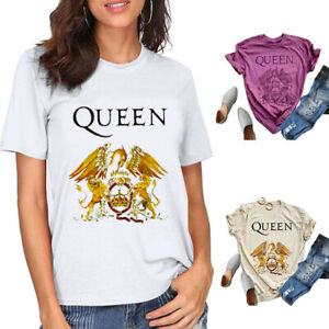 Women Vintage Queen Rock Band Print T-Shirts Tops Short Sleeve Blouse Casual Tee