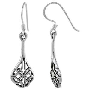 Fashion-Celtic-Knot-Long-Drop-Hook-Dangle-Earrings-925-Sterling-Silver
