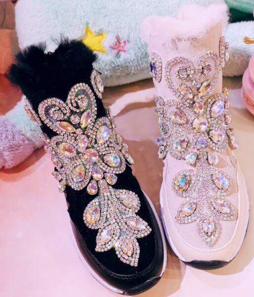 donna Thicken Wool Fleece Lined Fur Ankle Snow stivali Rhinestones scarpe da ginnastica G115