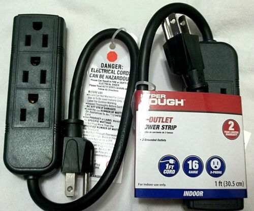 Two One Foot 3-Outlet Power Strips Dark Green ETL Listed NWT