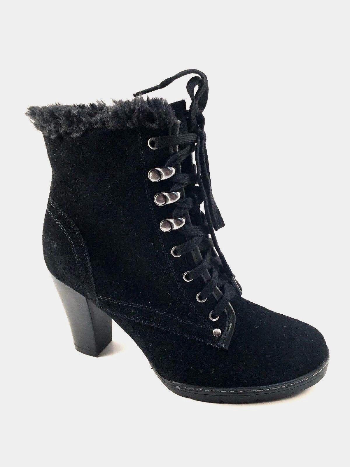 BLONDO Lili Boot NIB Suede Leder Waterproof Lace Up Heel Bootie BLACK 9.5