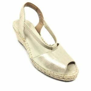 Women's Clarks Artisan Slingback Wedge Espadrille Sandals Shoe Sz 6.5 M Gold AI2