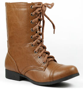 3cb2436651d Details about Tan Brown Faux Leather w Zipper Mid Calf Lace Up Military  Combat Boots Soda