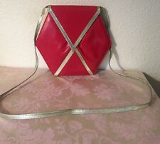 Charles Jourdan Paris France vintage Red gold leather Pyramid bag