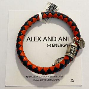 (2) Alex And Ani Detroit Tigers MLB Braided Leather Bracelets Rafaelian Silver