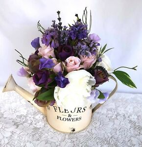 Watering-Can-with-Purple-Silk-Roses-amp-Peonies-Artificial-Flowers-Table-Flowers