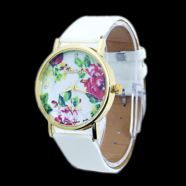 Fashion Leather Geneva Rose Flower Watch For Women Dress Quartz Watches New