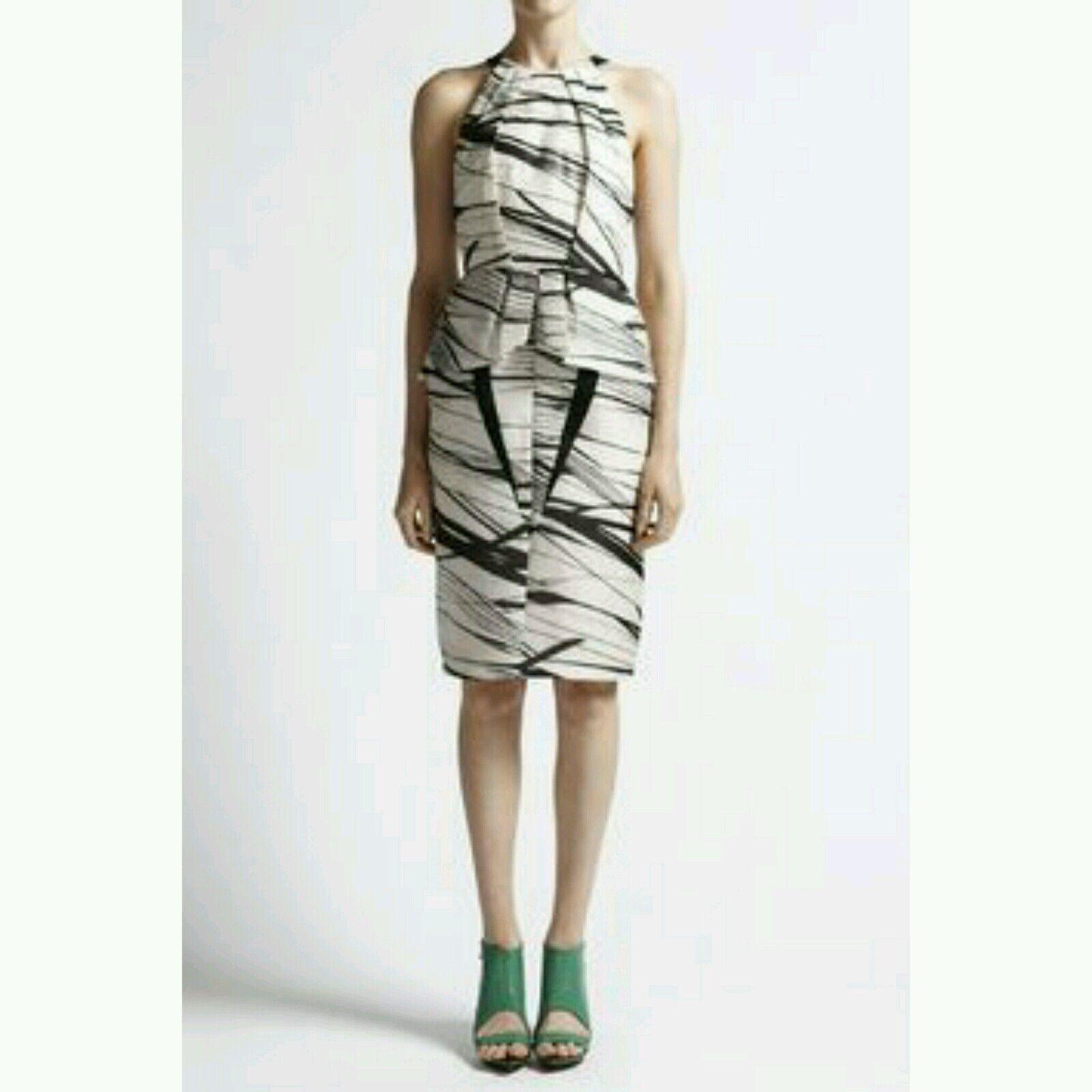 NWT Manning Cartell Irregular Stripe Silk Organdy Dress US 4