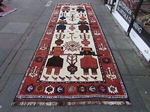 Vintage-Hand-Made-Traditional-Oriental-Wool-Cream-Long-Rug-Runner-402x144cm