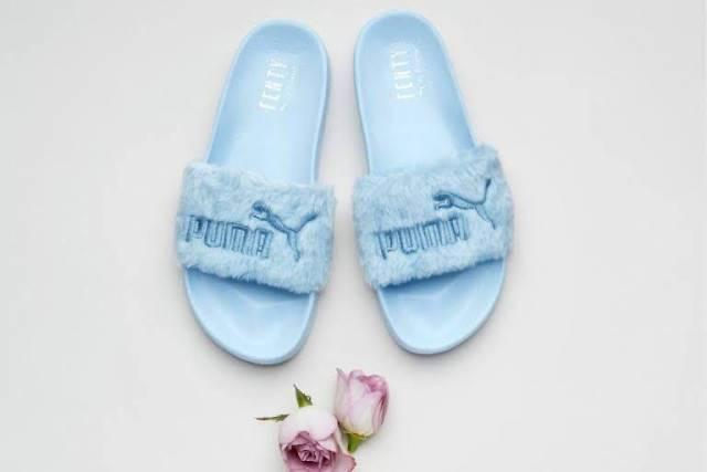 Puma x Rihanna Fenty Fur Slide Wns Cool Blue Women Sandal Shoes 365772-03