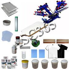 4 Color 1 Station Screen Printing Press w/ DIY Hobby Materials Kit Fast Shipping