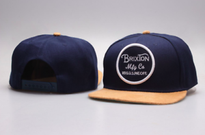 241e4f4d0a8e2 Image is loading Brixton-Wheeler-Snapback-Hat-Navy-Yellow-Adjustable
