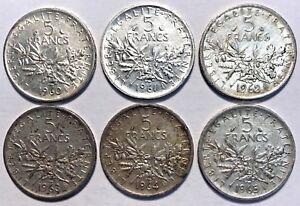 Lot 6 Pieces 5 Francs Semeuse Argent 1960 1961 1962 1963 1964 1965