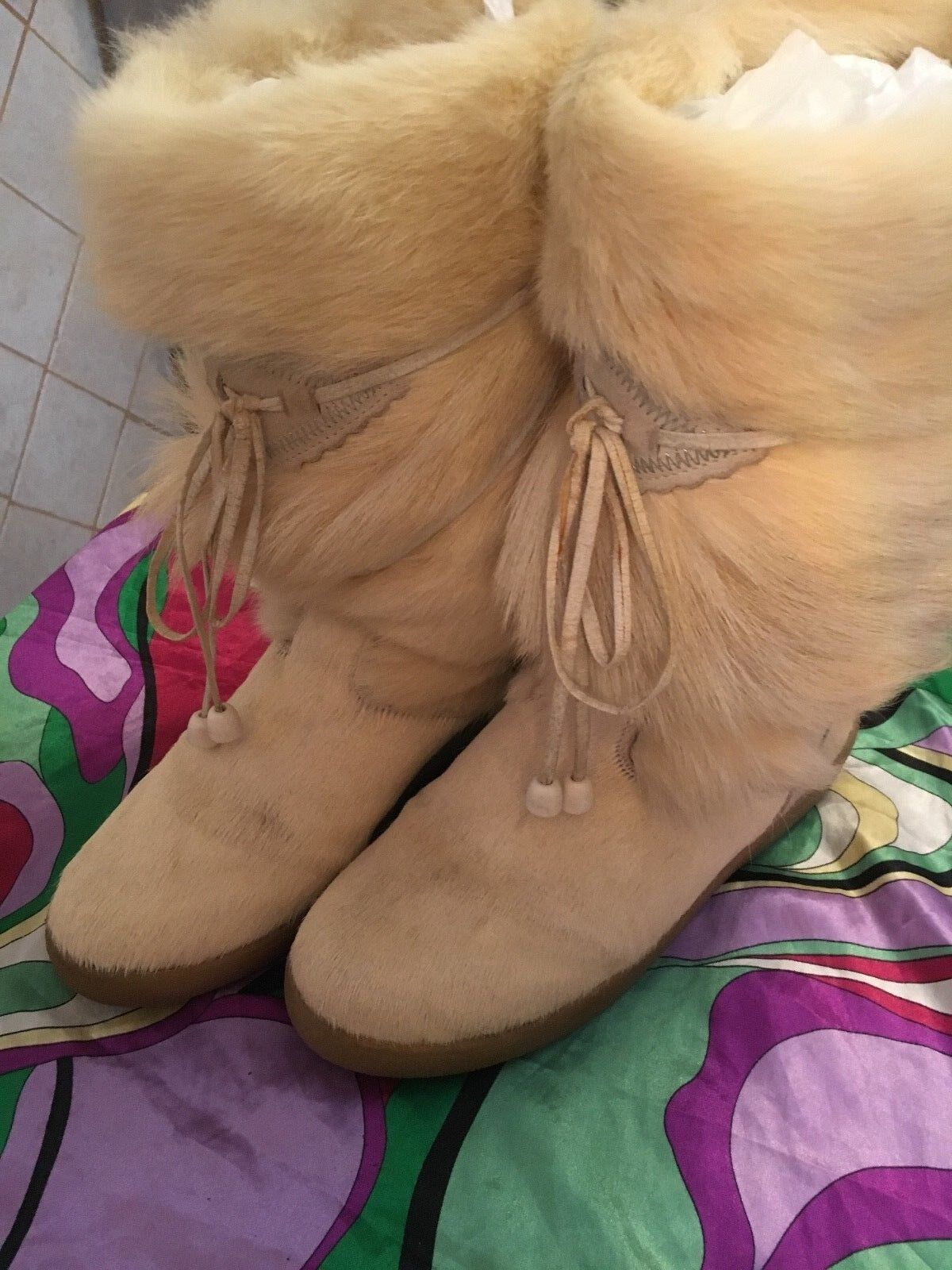 PAJAR  GOAT HAIR WINTER BOOTS OFF WHITE SZ(7)