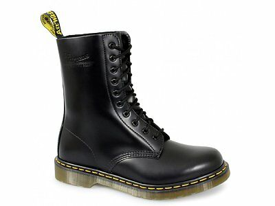Dr Martens 1490z Mens/Womens/Unisex Classic Airwair 10 Eye Leather Boots Black