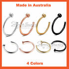Titanium Surgical Steel Silver Gold Rose Black Nose Stud Ring Hoop Body Piercing