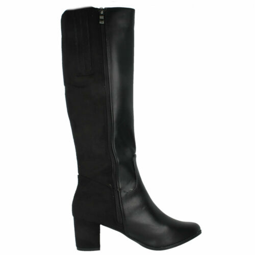 Heeled Boots Spot On Formal Up Long Ladies Knee Length Black Smart F50366 Zip 100Pw