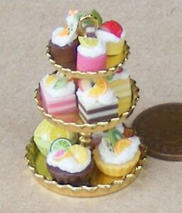 1-12-Scale-Gold-Metal-3-Tier-Stand-With-Assorted-Cakes-Tumdee-Dolls-House-Party