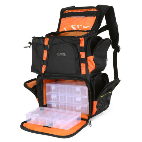 Lixada Fishing Tackle Bag Backpack Lures Bait Box Storage Pack Case with 4 Boxes