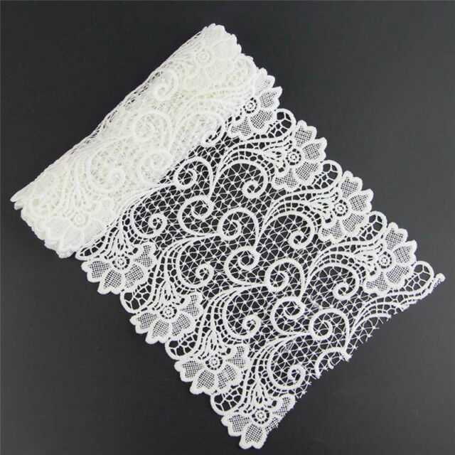 1 Yard White Fabric Flower Lace Trimming For Costume Dress Decor Sewing Applique