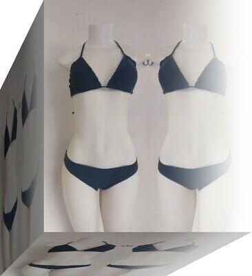 100% Vero Set Di Bikini Nero Brasiliano Reggiseno Allacciatura Dietro Il Collo Laccio Laterale Fondo Taglia 6 Coppa 8 Xs Un Nuovo-mostra Il Titolo Originale