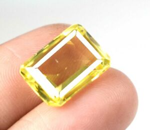 Natural 8.60 Ct Yellow Sapphire Loose Birthstone Emerald Cut Certified A25649
