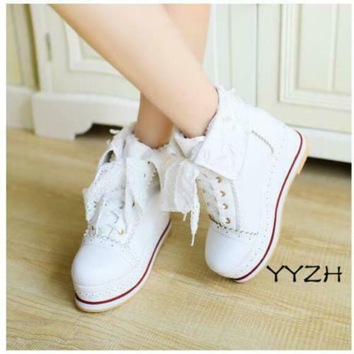 Details about  /Women/'s Comfort Platform Pumps Creeper Cosplay Lolita College Wedge Canvas Shoes