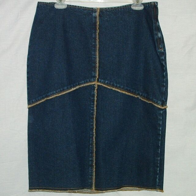 fc659153eeae Denim Skirt Tommy Hilfiger Size 10 Mid Lengh Exposed Seams Cotton Side Zip  for sale online