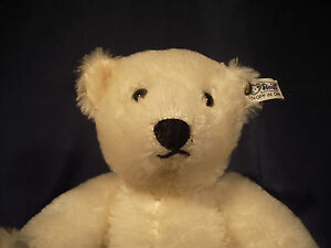 STEIFF-Blonde-Bear-White-Tag-Mohair-Leather-Paws-Vtg-1985-W-Germany-158-31