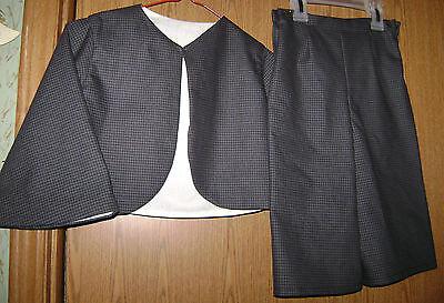 Civil War Period Correct Boys 2 pc Suit Black Brown &Tan Cotton Check Sz 5
