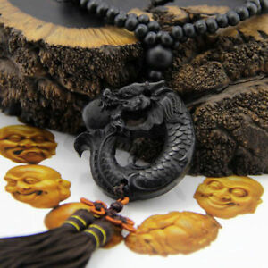 Chinese-Fengshui-Ebony-Wood-Carving-Dragon-Sculpture-Prayer-Beads-Car-Pendant-H7