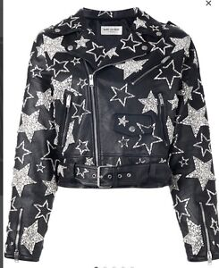8a1635986be $19k Black Yves Saint Laurent YSL Leather Crystal Star Motorcycle ...