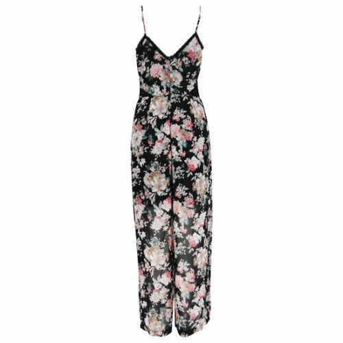 Femmes Mesdames STRAPY Floral Imprimé Long Robe Longue combinaison Boho robe de soirée