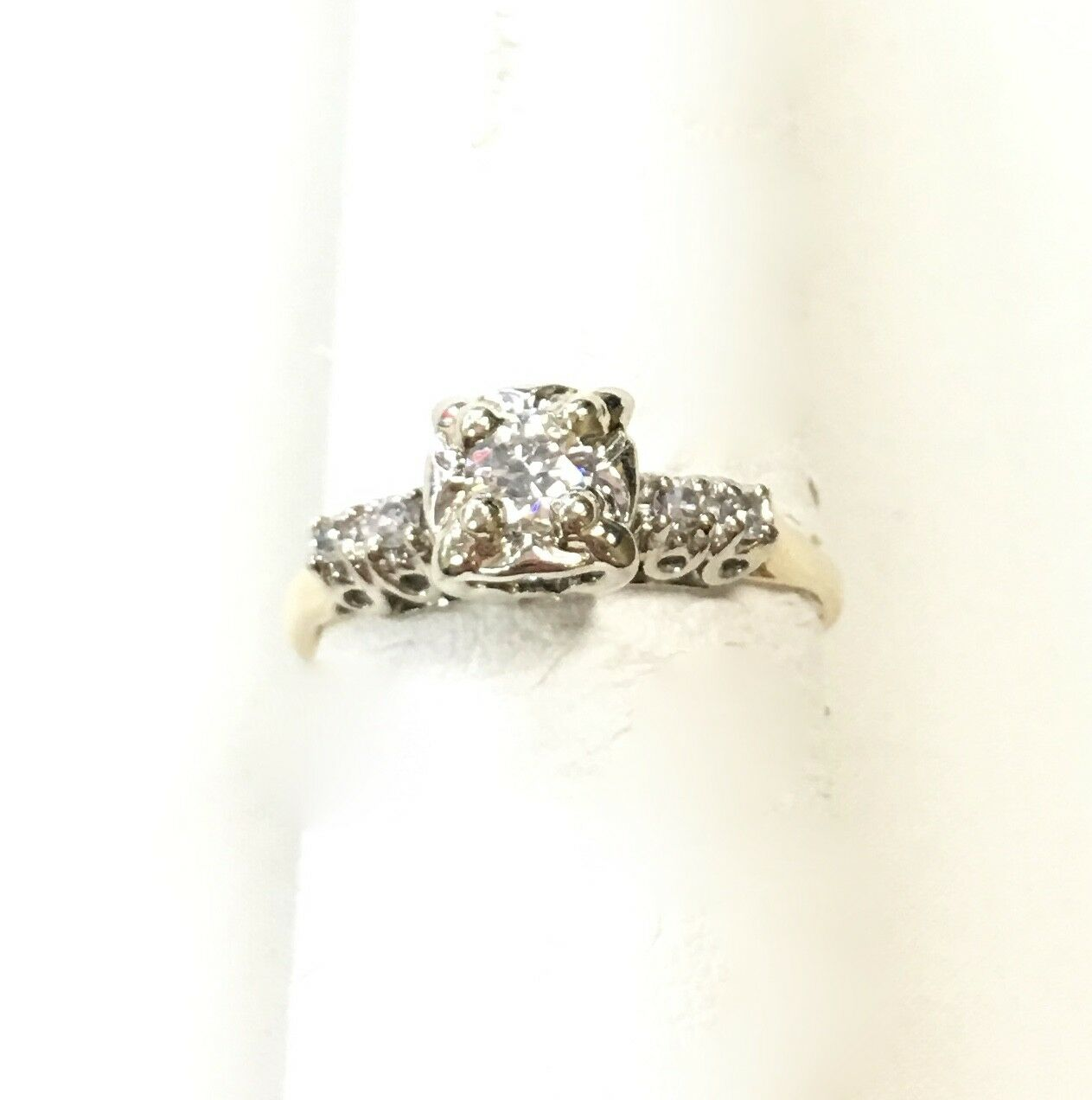 14k Yellow gold Ring with Diamonds   Size  6
