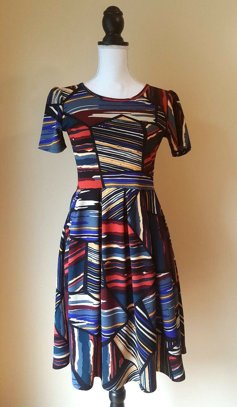 LuLaRoe Womens Dress Amelia Multi-color Abstract Striped Size Small