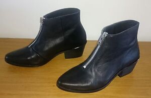 NEW-LOKAS-Black-Leather-Ankle-Boots-Size-EUR-37-AUS-6