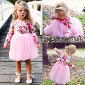 Newborn Baby Girl Long Sleeve Floral Tulle Tutu Skirts Dresses Clothes USA wea