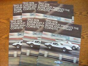 1978-Chevrolet-Corvette-Dealer-Sales-Brochure-LOT-6-pcs-MINT